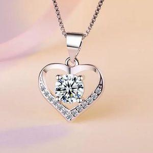 925 Sterling Silver Diamond Heart Necklace